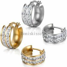 2Pcs Stainless Steel Oval Hoop Drop Dangle Earrings Set Womens Ladies Girls