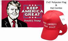 3'x5' Donald J Trump Keep America Great & Make America Great Red White Hat Set