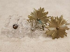 LOT OF 4 Vintage Brass & Glass Curtain Tie Backs beautiful
