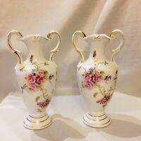 2 Vintage Original Arnart Creation Japan White 2-Handle Vases Gold Floral Design