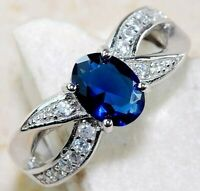 2CT Blue Sapphire & Topaz 925 Sterling Silver Ring Jewelry Sz 7, UC1