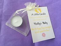 BABY SHOWER personalised  CANDLE FAVOURS 3, 10 ,15 ,24,30,40  PACK - GIFT BOX