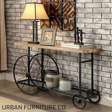 Industrial Metal Black Wheel Sofa Wood End Coffee Table Living Room Furniture
