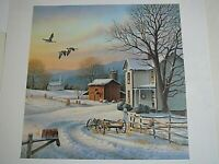 """""""December Evening"""" S/N Ronald Louque Country Winter Landscape Farm House Geese"""