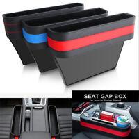 1* Black PU Leather Car Armrest Organizer  Front Seats Gap Storage Box Universal
