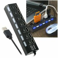 7-Port USB 2.0 Multi Charger Hub +High Speed Adapter ON/OFF Switch Laptop/PC USA