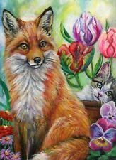 ACEO Original Red Fox Kitten Cat Spring Flowers Garden OOAK Miniature Painting