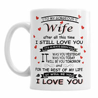 To My Gorgeous Wife Valentine's Day Mug Office Coffee Mothers Mum Love