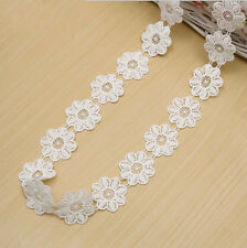 3 Yards White Milk silk flowers lace Trim Wedding Bridal Ribbon accesories
