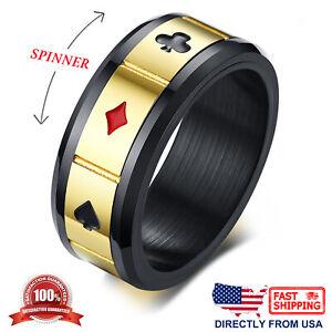 Men's Stainless Steel Poker Card Game Anxiety Calming Spinner Ring