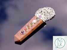Petrified Wood 7 Chakra Flat Natural Gemstone Pendant Necklace 50cm Healing Ston