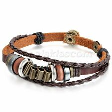 Vintage Tribal Handmade Brown Leather Beaded Bracelet Men Women Adjustable Cuff