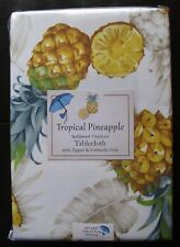 "TROPICAL PINEAPPLE 60x84"" Outdoor Polyester Umbrella Hole Zipper Tablecloth NIP"