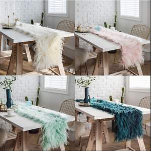 Long Shaggy Fuzzy Fur Faux Artificial Wool Table Runner European Table Decor