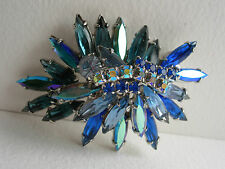 VINTAGE JULIANA D & E INVERTED LAYER SHADES OF BLUE IRIDESCENT RHINESTONE BROOCH
