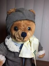 "Harrods Plush 12"" Bear Aviator Non Articulated In Bomber Outfit w/ Logo Scarf"