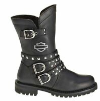 Harley-Davidson® Women's Adrian Riding Black Leather Motorcycle Boots D87027