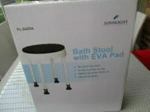Bath Shower Stool w EVA Foam Pad Adjustable height suction cups legs up to 113kg