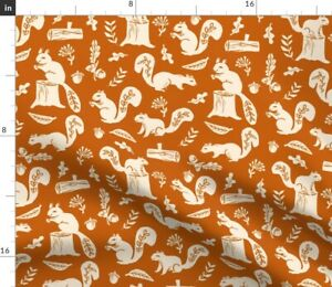 Squirrels Fall Autumn Trees Acorn Squirrel Spoonflower Fabric by the Yard