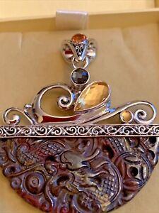 Sajen Silver Handmade Multi Gem 52.54 CTW Pendant Platinum over silver 13.5 G