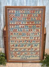 Antique Framed Sampler English American Alphabet Red Blue E. Playfair 1854