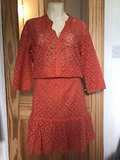 Gerard Darel Paris Orange Size 10 Dress £225 Broderie Anglais Cotton modest