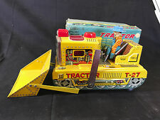 Old Vtg Rosko Tested Battery Powered Toy Tin Tractor With Shovel & Farmer Man