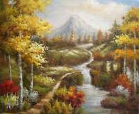 Fishing Hiking River Trees Mountain Stream Vacation 20X24 Oil Painting Stretched