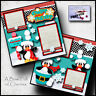 Winter Snow 2 premade scrapbook pages paper piecing printed layout by cherry