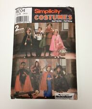 simplicity 8004 costume pattern kids s m l witch devil princess vampire