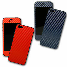3D Coloured CARBON Fibre Skin Wrap Sticker Cover Protector for iPhone 5S 5 4S 4