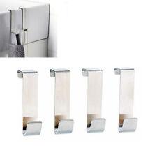 4 Pcs Over Door Hooks Stainless Steel Kitchen Cabinet Hat Clothes Hanger Holder
