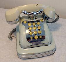Vintage Art Deco Miami Style Telephone Plastic Faux Chrome Antique-Style Works!
