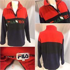 Fila Tech Fleece Pullover XL Red Poly 1/4 Zip EUC YGI 6348