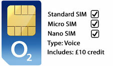O2 Sim Card Triple Standard/Micro/Nano International Voice Sim +£10 Credit 3G/4G