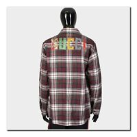 GUCCI 1490$ Authentic New Check Wool Shirt With Embroidered Logo On Back