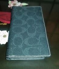Coach Checkbook Cover Black Satin Signature Jacquard  Lg. Stitches Leather Trim
