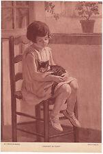 Reproduction sepia de 2 tableaux années 1930 enfant + animal