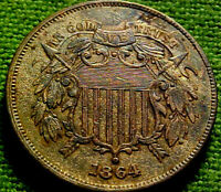 1864 Two Cent Piece 2c ~ NICELY TONED HIGH GRADE COIN W/ SOLID DETAILS ~ 60PS