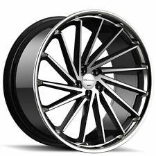 "4ea 22"" Staggered Giovanna Wheels Spira FF Diamond Cut Black with Chrome (S6)"