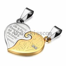 """His and Hers Stainless Steel """" LOVE """" Matching Couple Heart Pendant Necklaces"""