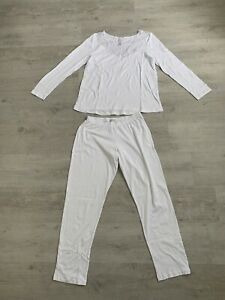 Hanro Schlafanzug Pyjama Gr. S Weiß Spitze