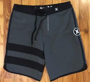 "Hurley Men's Size 29 Phantom Block Party Swim Trunks Boardshorts 18"" Grey Black"