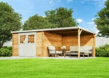 Gartentiger Gartenhaus Eden Holz B 605xT 298cm 28mm Flachdach Gartenhütte Laube
