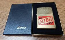 ZIPPO EAT RIDE SLEEP GOLD COLOR LIGHTER NEW IN BOX UNUSED LQQK