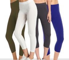 Women's Basic Cotton Spandex Stretch  Capri Long Leggings (S-3X)- made in USA