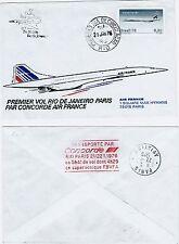 FDC-SPERSONIC CONCORDE-PREMIER VOL-RIO DE JANEIRO-PARIS-5 h 41 DE VOL-22/01/76
