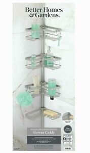 NEW - Better Homes & Gardens Contoured Tension Pole Shower Caddy, Satin Nickel