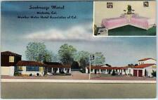 MODESTO, California  CA   Roadside SEABREEZE MOTEL 1953 Message  Linen Postcard