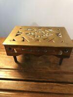 Antique Victorian Large Brass Fire Side/oven  Kettle Table Trivet C:-1850s.